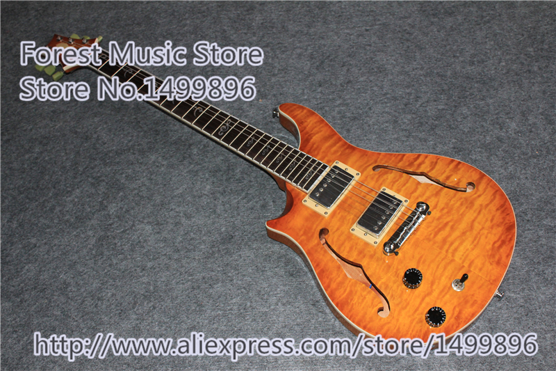 new arrival left handed hollow maple body prs electric guitars with chrome hardware for sale in. Black Bedroom Furniture Sets. Home Design Ideas