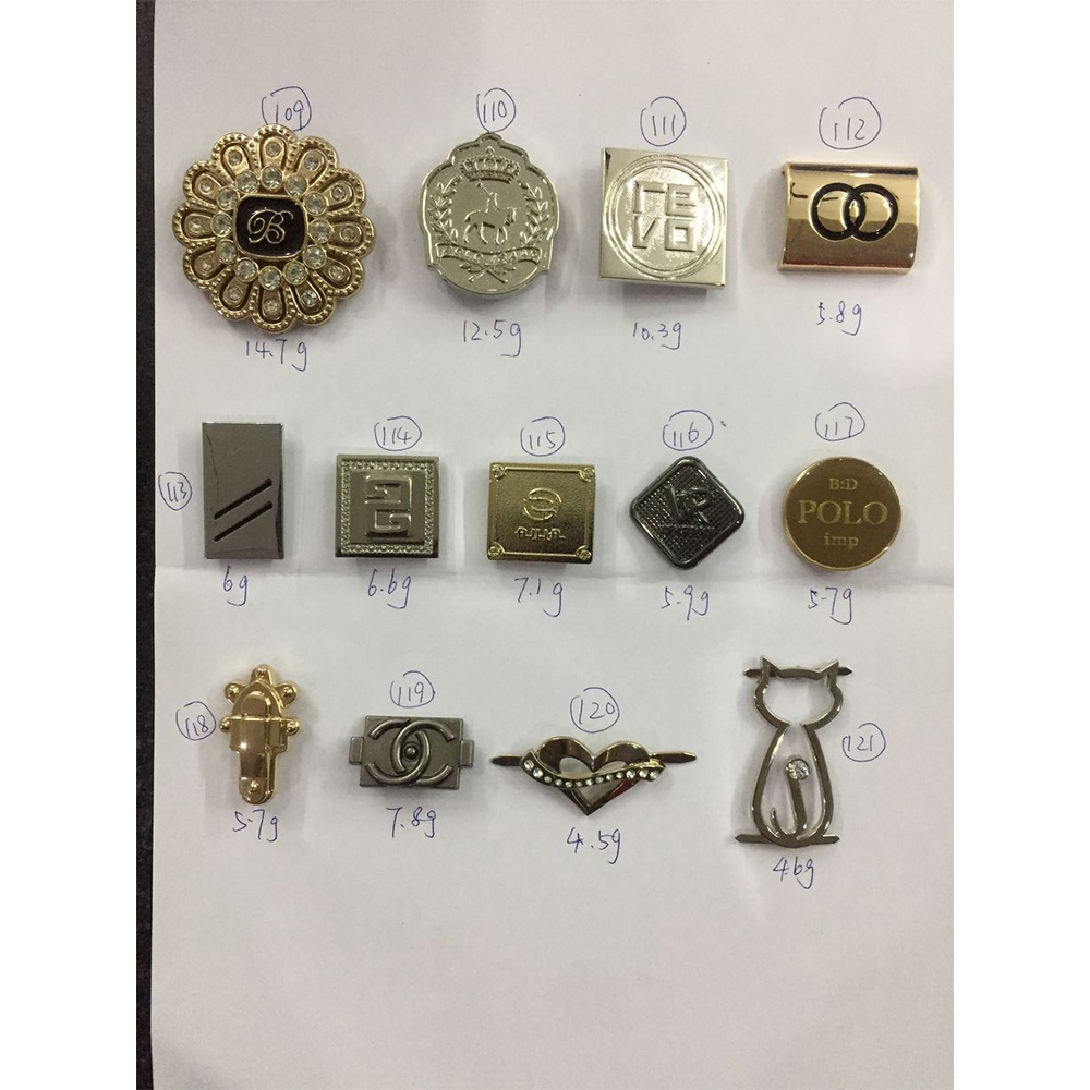 large stock low price bag accessories customized designer metal labels and <strong>logos</strong> for handbags