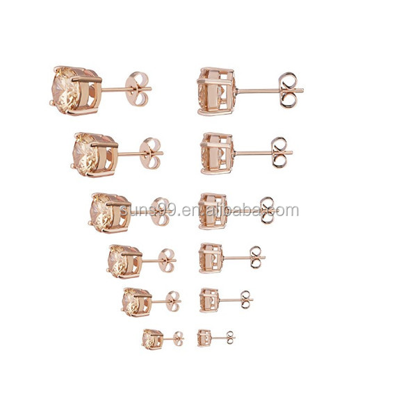 Wholesale Womens Stud Earrings Stainless Steel 6 Pairs Set,rose Gold Tone Yellow Crystal Cubic Zirconia