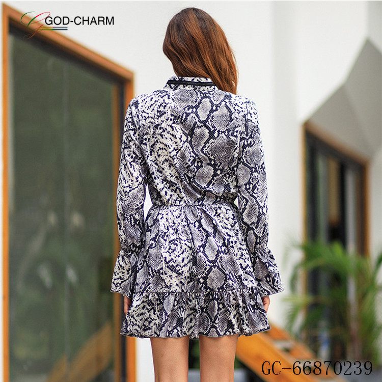 *GC-66870239 2020 new arrivals Wholesale Latest Design Lace Snake Bestsale Print Autumn Fashion Casual Women Long Sleeve Dress