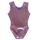 Wholesale Solid Black Shiny Waves Metallic Tank Dance Gymnastics Leotard Outfit For Girls