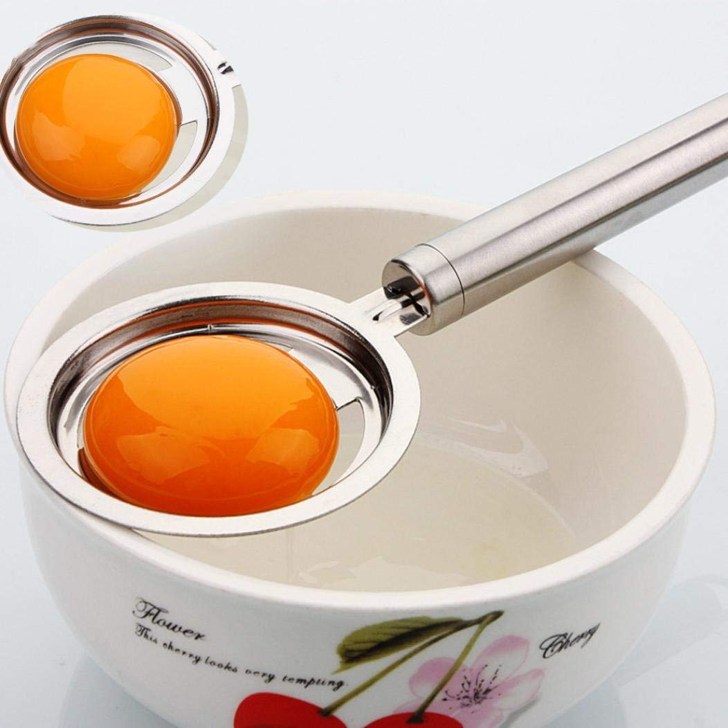 Stainless Egg Yolk White Separator Divider Holder - Kitchen Tool Baking Accessory Easy to Operate and Clean, Reusable and Durable Gessppo