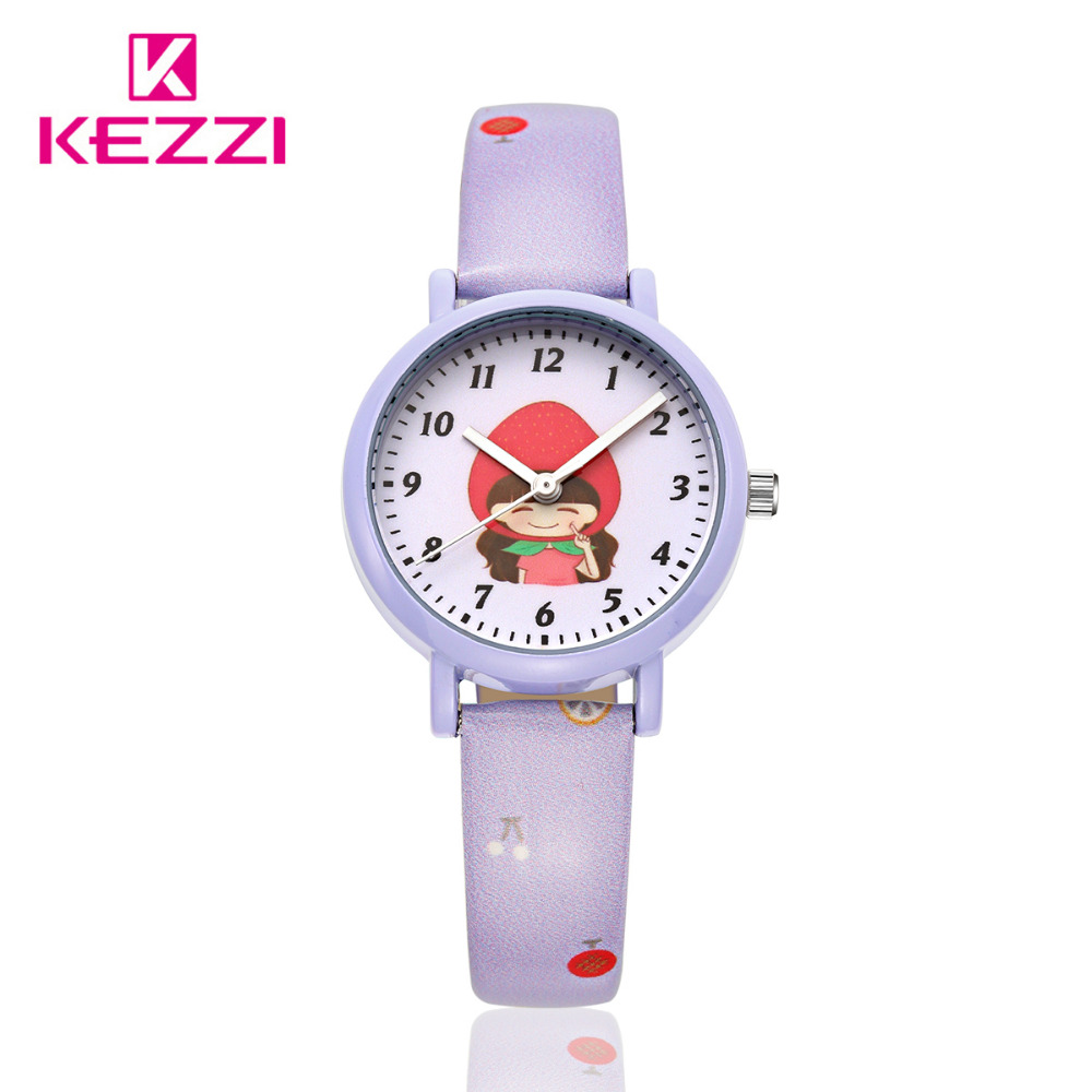 KEZZI Children Watch New Fashion Style Kids Girls Boys Cute Cartoon Watch Lovely Student Colorful Fruit Printed Leather Watch