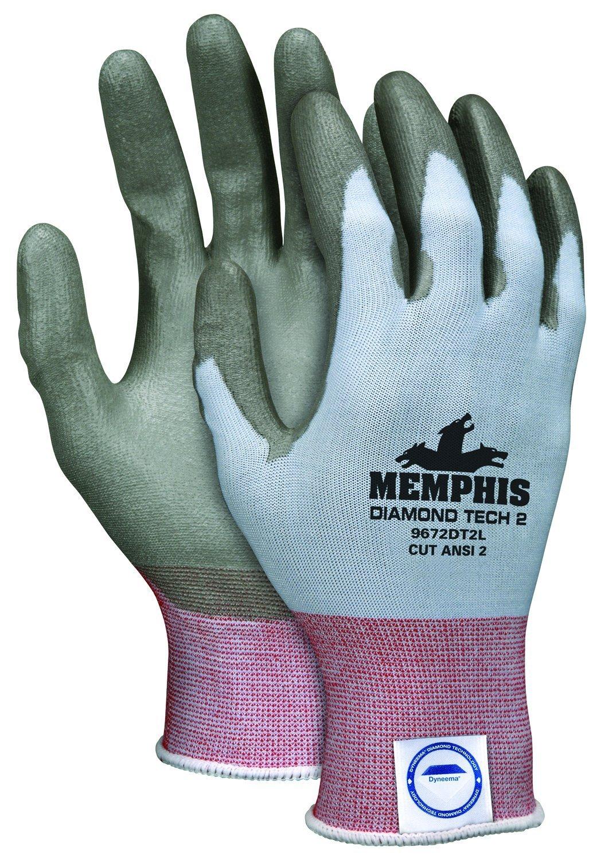 MCR Safety 9672DT2S Memphis Diamond Tech 2 18 Gauge Dyneema Gloves (1 Pair), Light Blue, Small