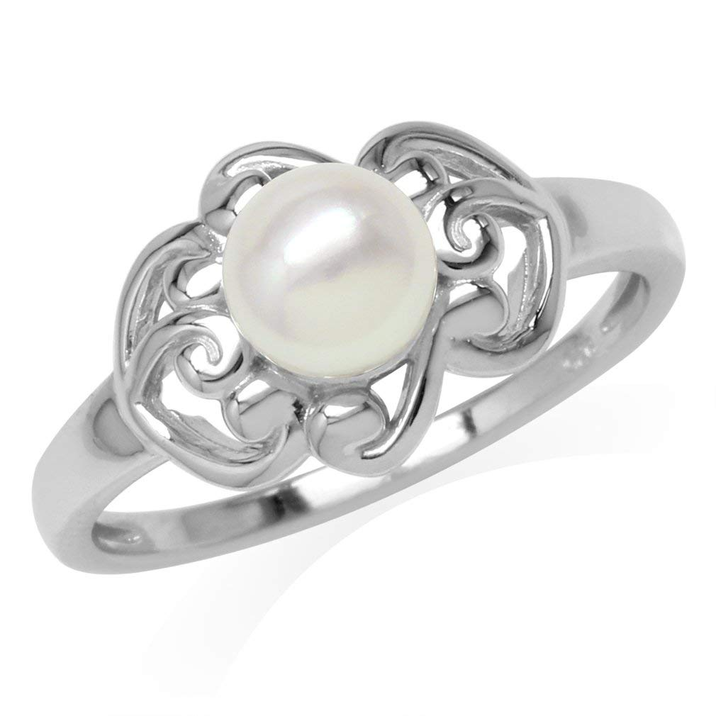6MM Cultured Freshwater Pearl White Gold Plated 925 Sterling Silver Filigree Ring