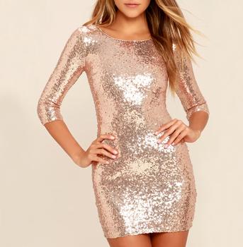 Gold Sequin Long Sleeve Dress