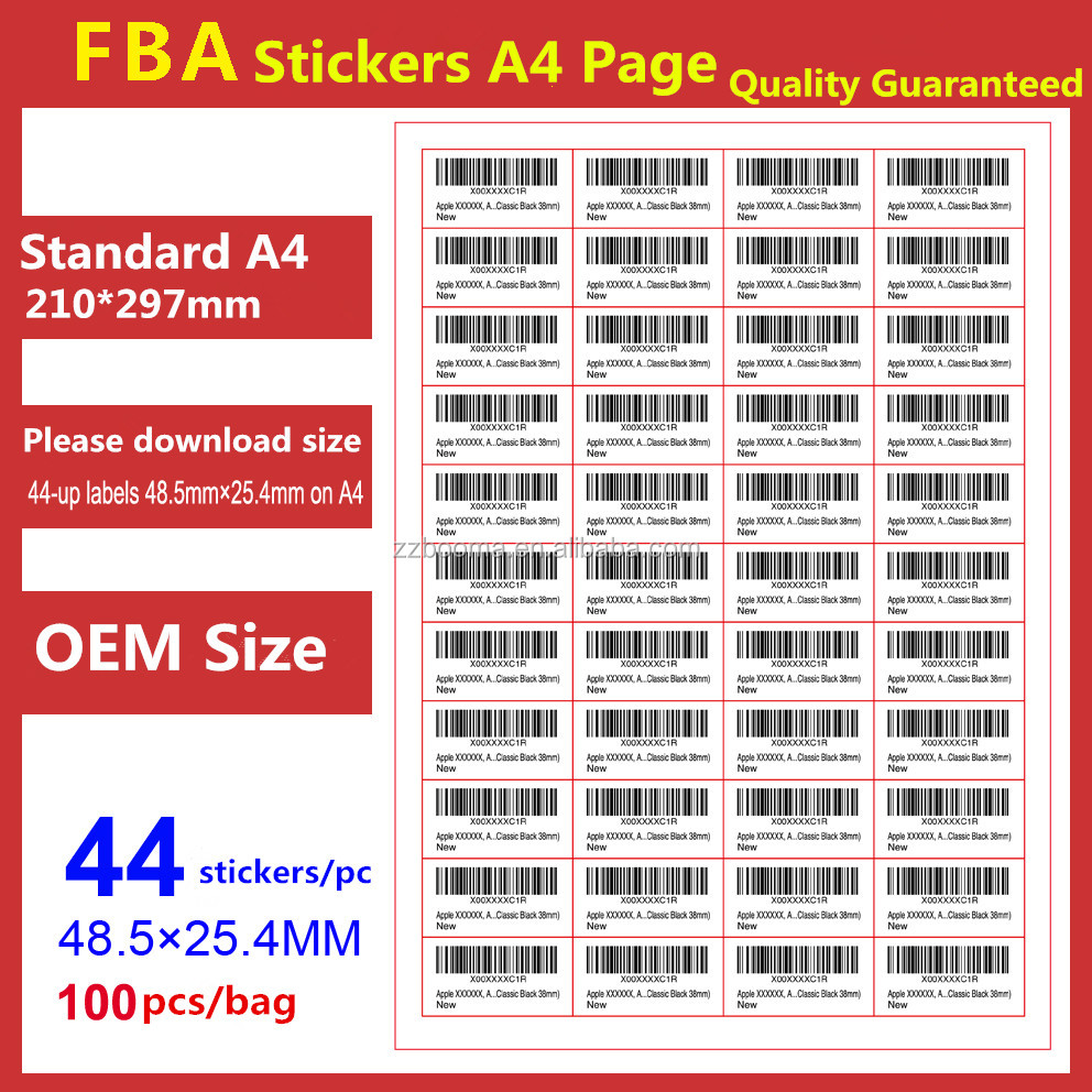 Amazon FBA sticker labels 44-up labels 48.5x25.4mm on A4 blank label sheet(100pcs A4 sheets,4400labels)