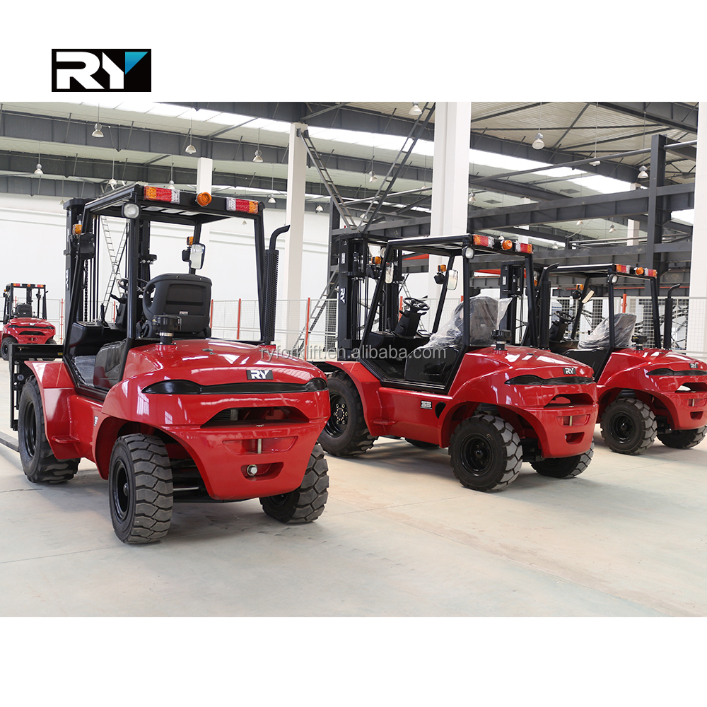 Low price High Quality 4WD 2.5ton rough terrain forklift with 4TNE98 design engine Dana Tran-axle hydrostatic