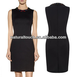 Dongguan manufacture woven sleeveless formal dress for office lady with beaded neck (NTF05007)