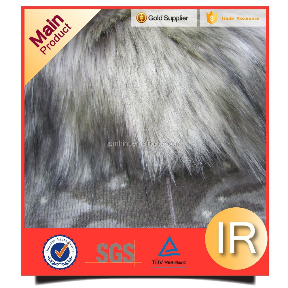 Manufacturer long hair heavy weight jacquard fashion fur fabric tip printed artificial fur