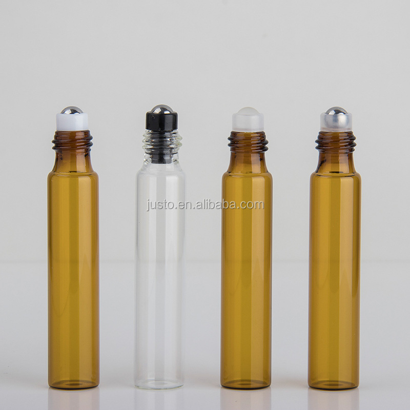 3ml 5ml 10ml Amber and Clear Essential Oil Glass Roll On Bottles
