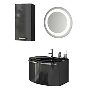"""Nameeks CD23 ACF 27-3/5"""" Wall Mounted Vanity Set with Wood Cabinet, Glass Top wi, Glossy Anthracite"""