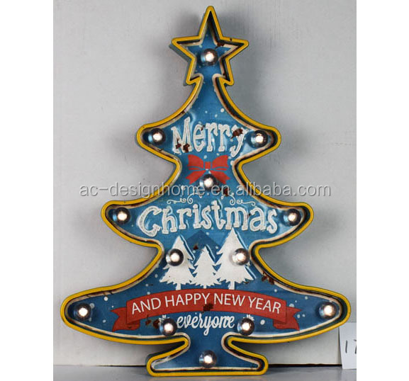 "METAL/PLASTIC LED WALL DECOR ""MERRY CHRISTMAS AND HAPPY NEW YEAR EVERYONE"" DESIGN"
