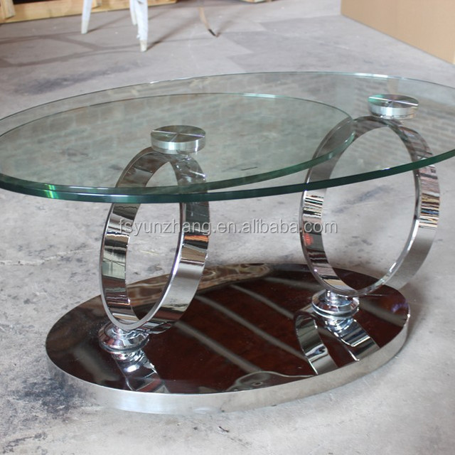 2015 Functional Oval Design Glass Top And Stainless Steel Base Coffee Table