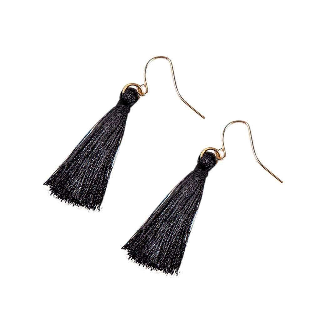 Clearance ! Yang-Yi 2018 1Pair Women Fashion Bohemian Earrings Long Tassel Fringe Dangle Earrings (3.1cm, Black)