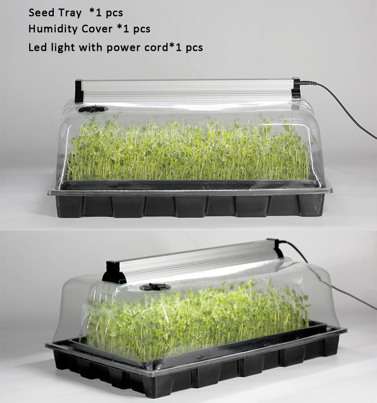 propagation lights grow mini microgreen hydroponic agriculture plastic square propagator tray dome set kit seed propagator