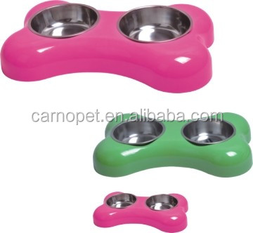 Classic design two sections melamine feeder pet cat food bowl