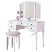 Folding Mirror dresser Collection Vanity Set with Stool, Black