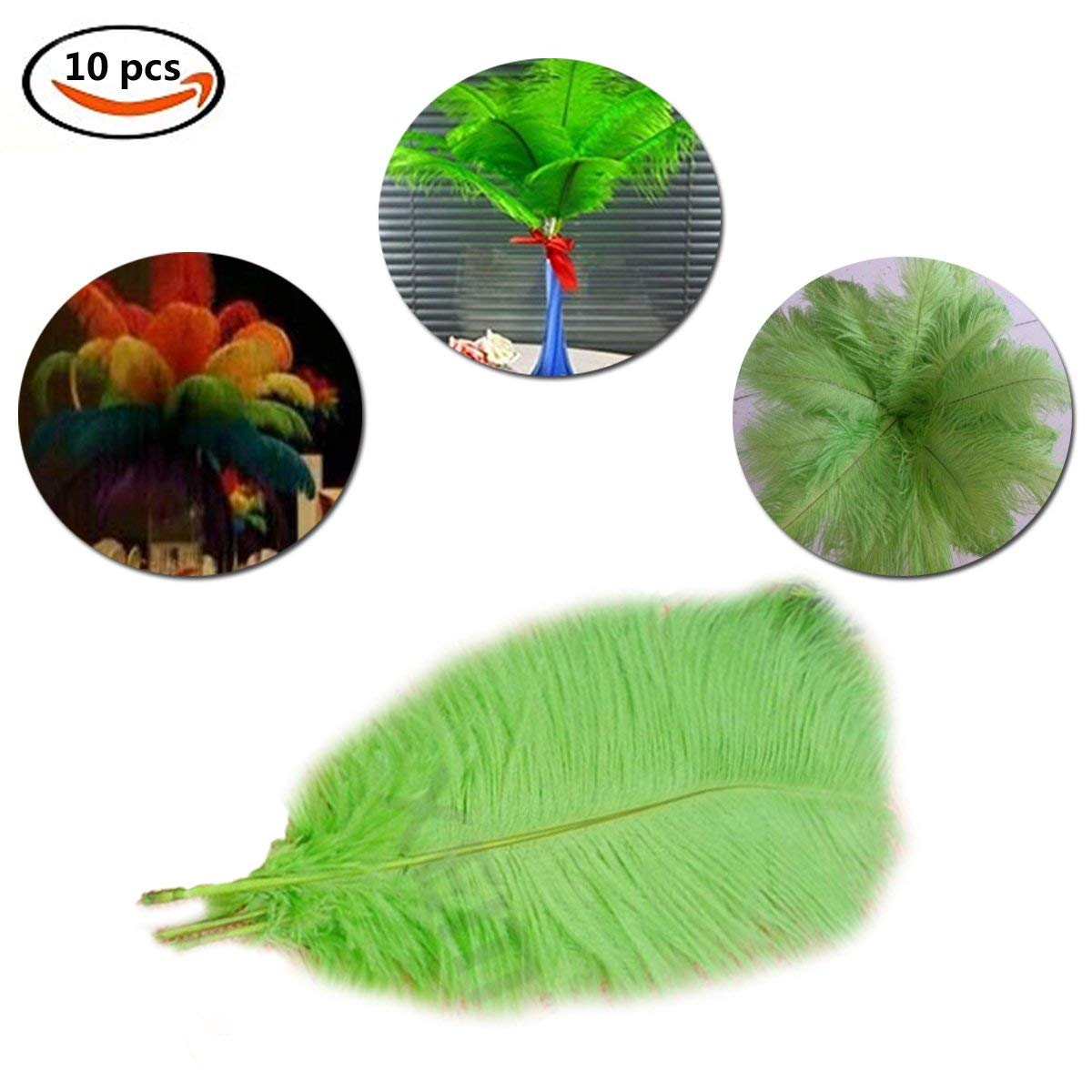 "3 JADE GREEN Ostrich SPADS 20-30/"" Full Wing Feather PLUMES; Wedding//Centerpiece"