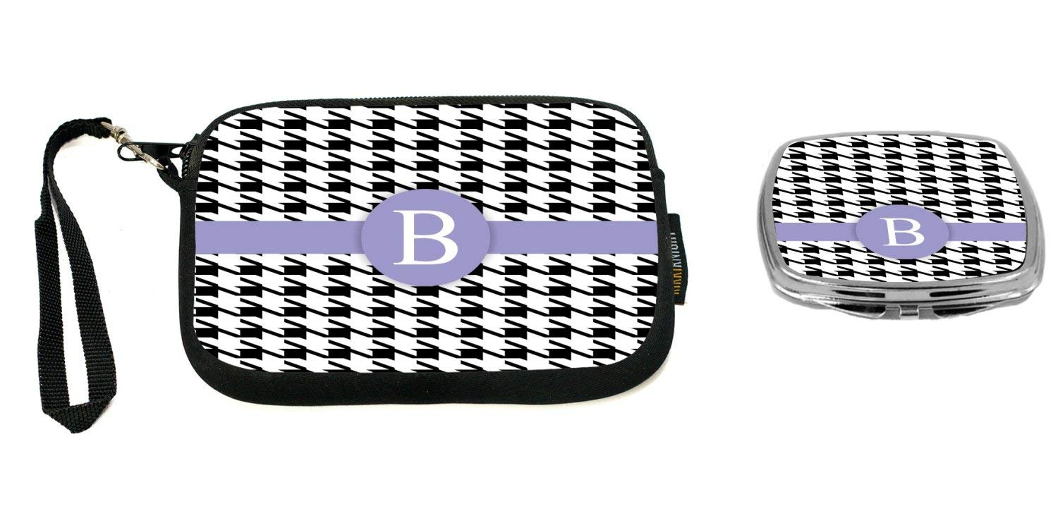 """Rikki Knight Letter""""B"""" Violet Houndstooth Monogram Design Neoprene Clutch Wristlet with Matching Square Compact Mirror"""