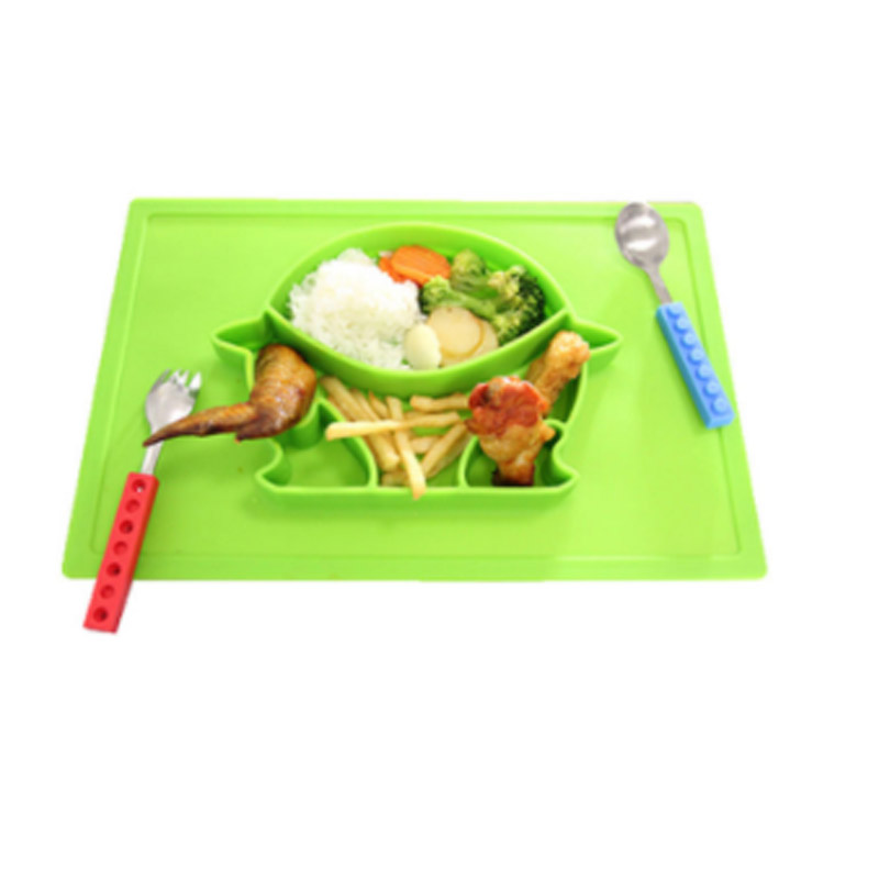 BPA Free, Heat-Resistant and Soft Baby Feeding Mat Silicone Baby Suction Plate with Placemat For Babies Toddlers and Kids