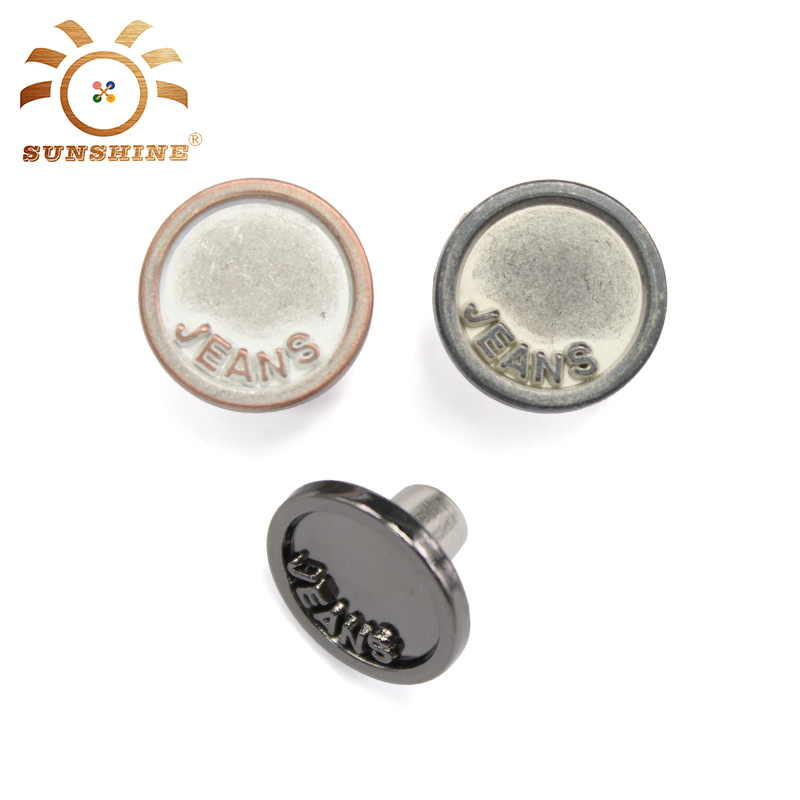 Custom Plating Eco-friendly Metal Jeans Button For Jacket