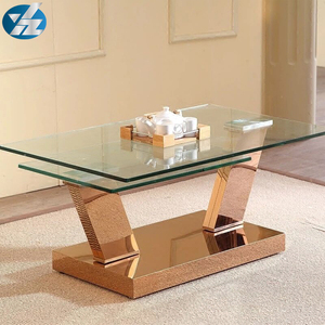 stainless steel leg glass toughened coffee table side table