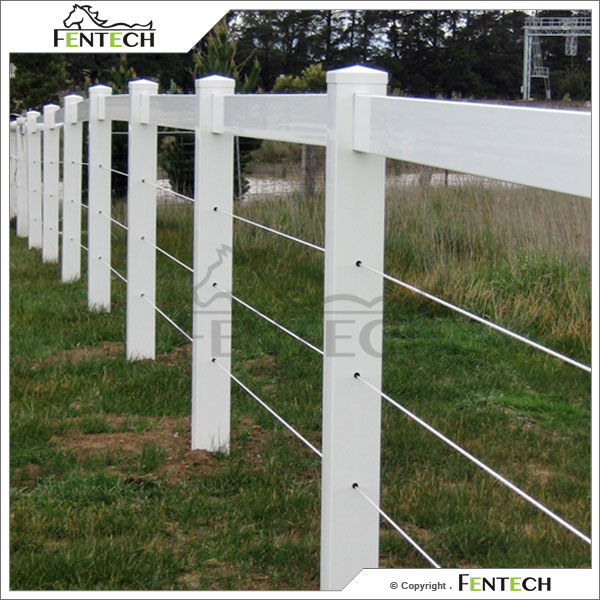 Fentech White Vinyl Plastic Horse Fence Farm Fencing With