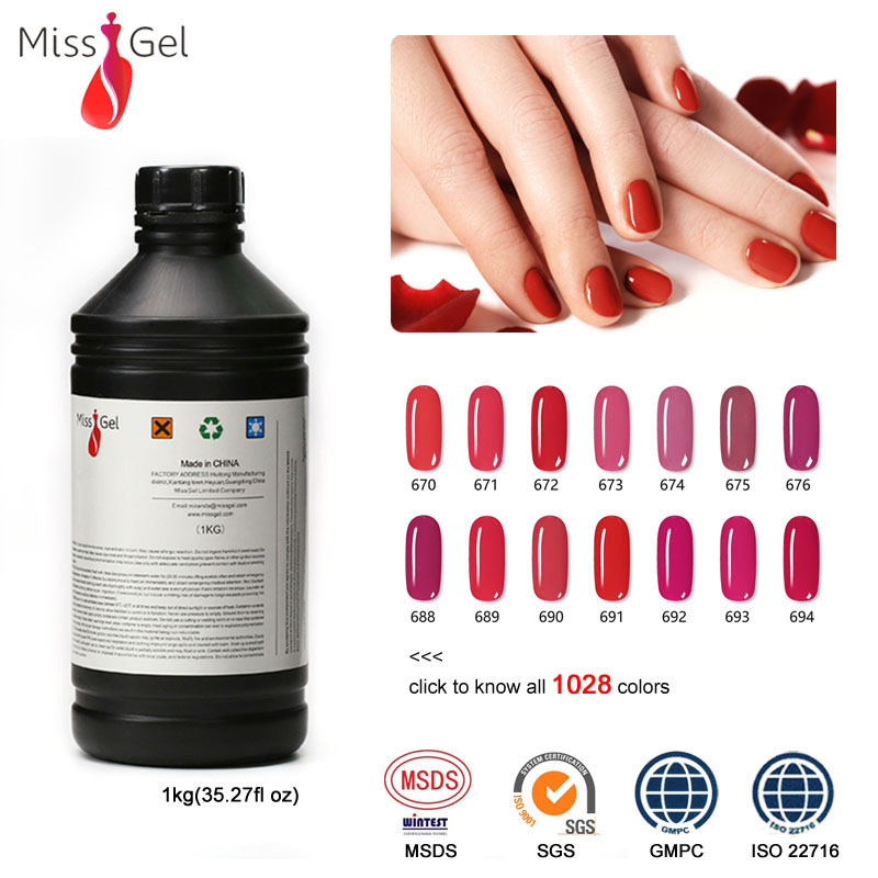 Missgel professional wholesale china nail supplies soak off led uv gel 1kg, 3000 colors
