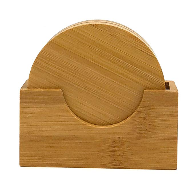 Natural Bamboo Coaster Set Of 4 With Holder