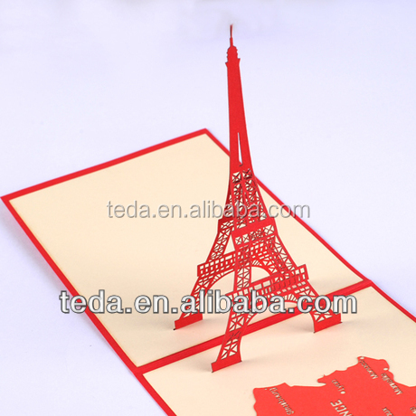 Eiffel tower 3d greeting cards for wholesale customized