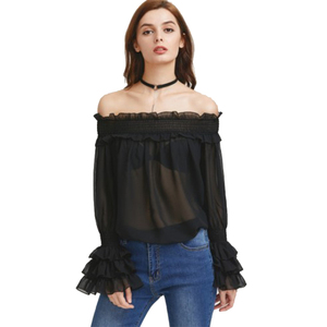 Smocking off the shoulder tops layered cuff long sleeves woman blouse in black color