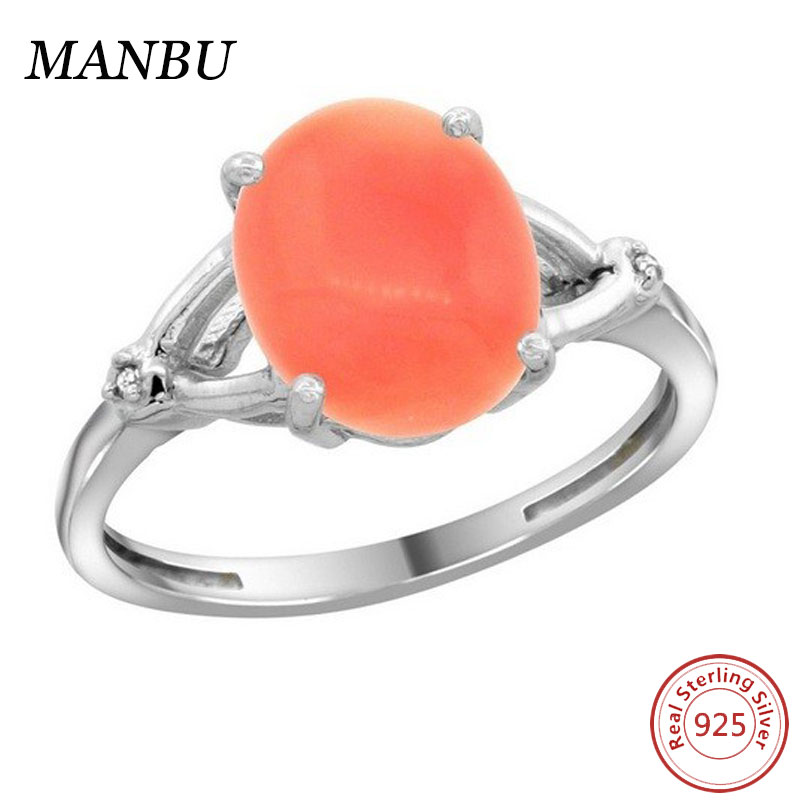 Sterling Silver Diamond Natural Coral Ring