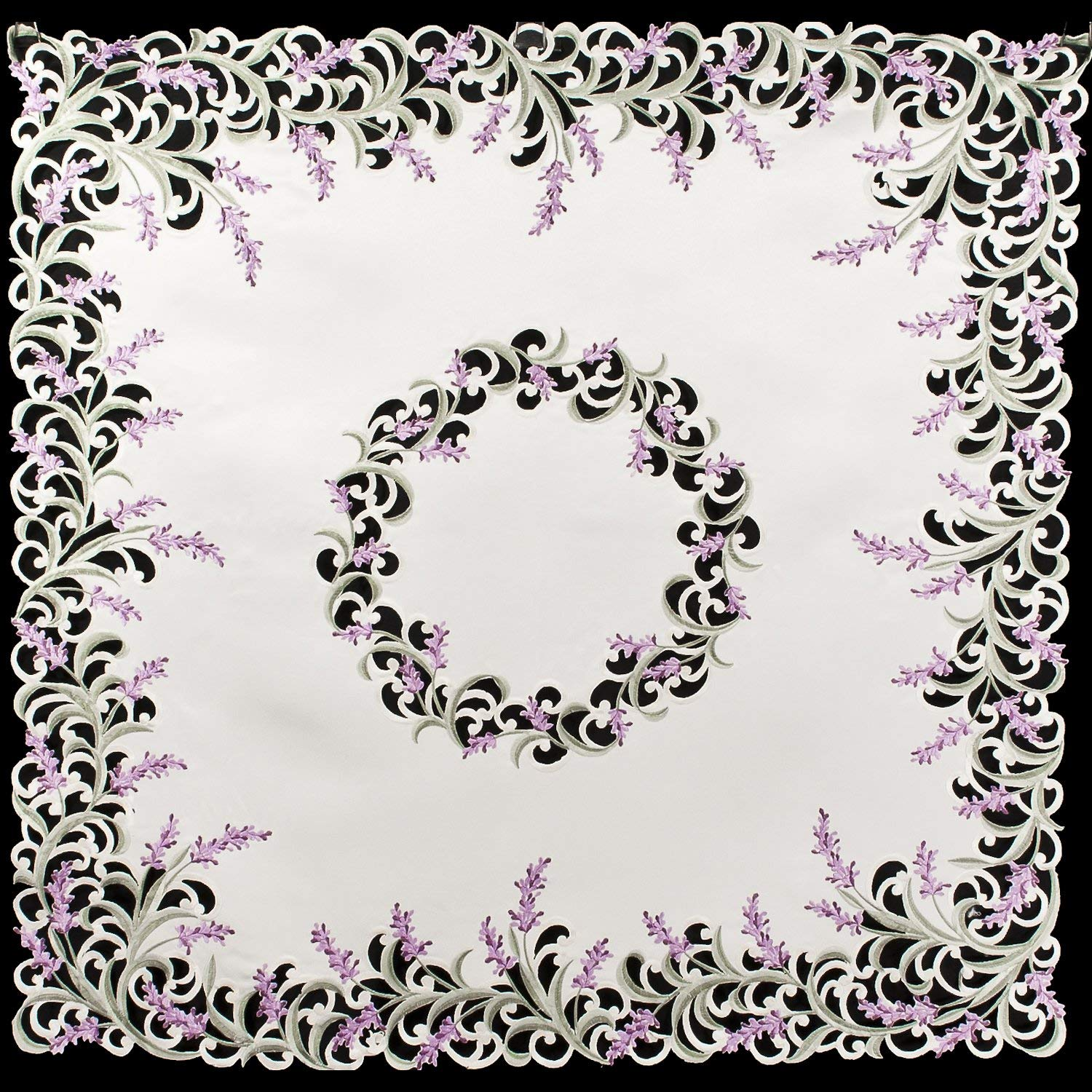 "Linens, Art and Things Embroidered Purple Lavender & Lilac Table Topper on Ivory, Small Tablecloth, Coffee Table Scarf 33.5"" x 33.5"" Square"