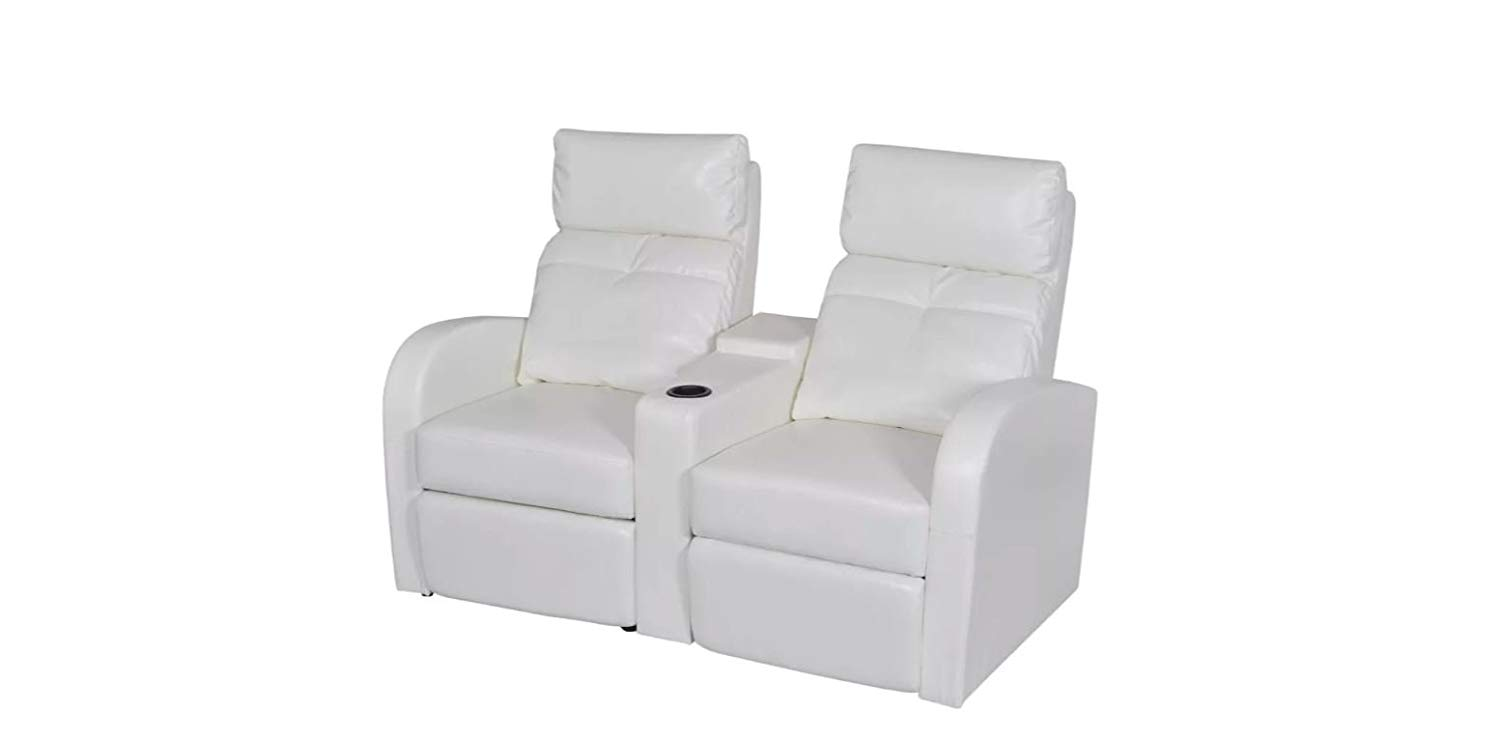 Home Cinema Recliner Reclining Sofa 2-seat Artificial Leather White K&A Company …