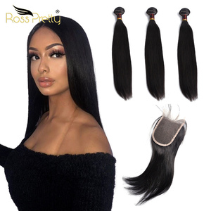 Ross Pretty Human Hair Weave Bundles With Closure Brazilian Straight Lace Closure with Hair Extension