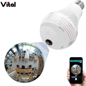 1080P Wireless IP Camera Bulb Light FishEye Smart Home CCTV 3D 360 degree VR Camera 2MP Home Security WiFi Camera Panoramic