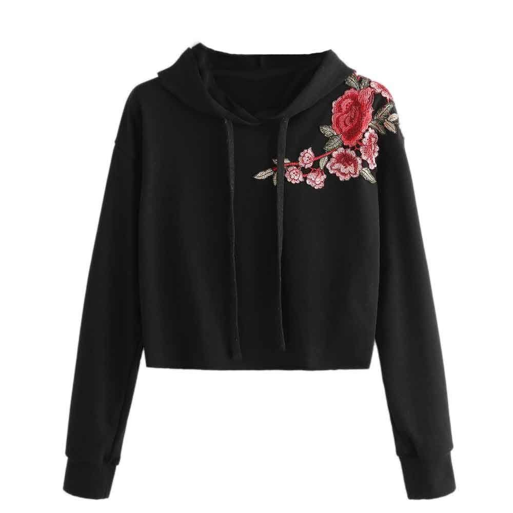 Snowfoller Rose Embroidery Women Hoodie Fashion Long Sleeve Blouse Top Pullover Casual Sweatshirt Short Tops