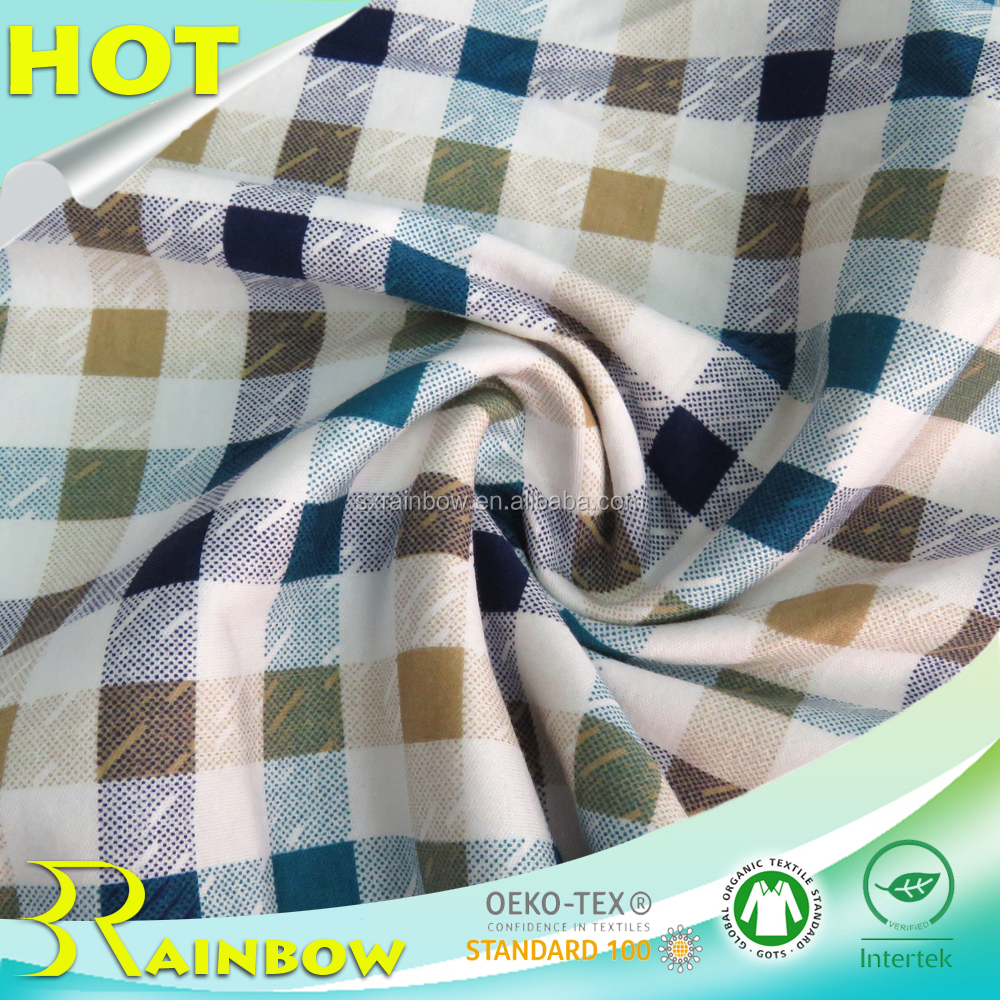 Soft Lattice Printed 100% Cotton Knitted Hosiery Fabric for Summer T-shirts