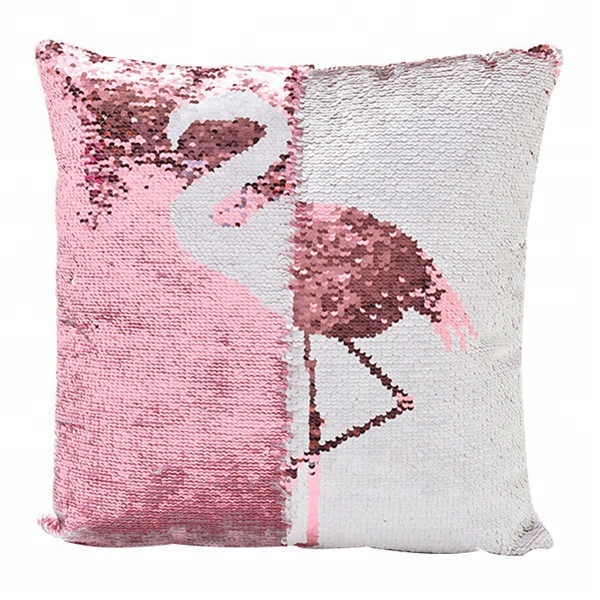 Billig Wholesale Reversible Glitter Pailletten Tier Flamingo Kissenbezug Home Decoration Magie Rosa Flamingo Pailletten Kissenbezug