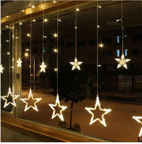 2.5M Bulbs Globes Balls Five-pointed Star Fairy String Lights LED Lamps Holiday Decors Christmas Party Decor
