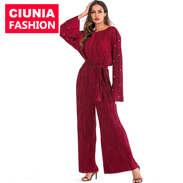 1635# Pearl Design Loose One Piece Pleated Rompers For Ladies Modest Fashion For Women Muslim Ladies Jumpsuits Dubai Abaya фото