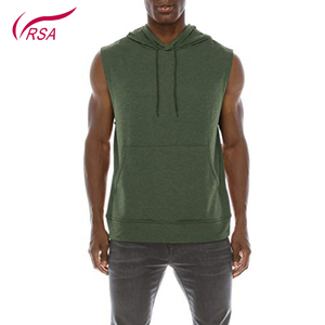 Custom Print Mens Blank Sleeveless Gym Pullover Hoodie