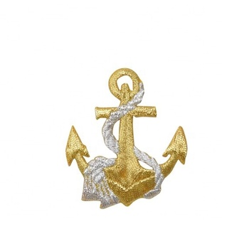High quality embroidered patch Gold/Silver Nautical Anchor patch with Rope Iron on Applique custom logo patch