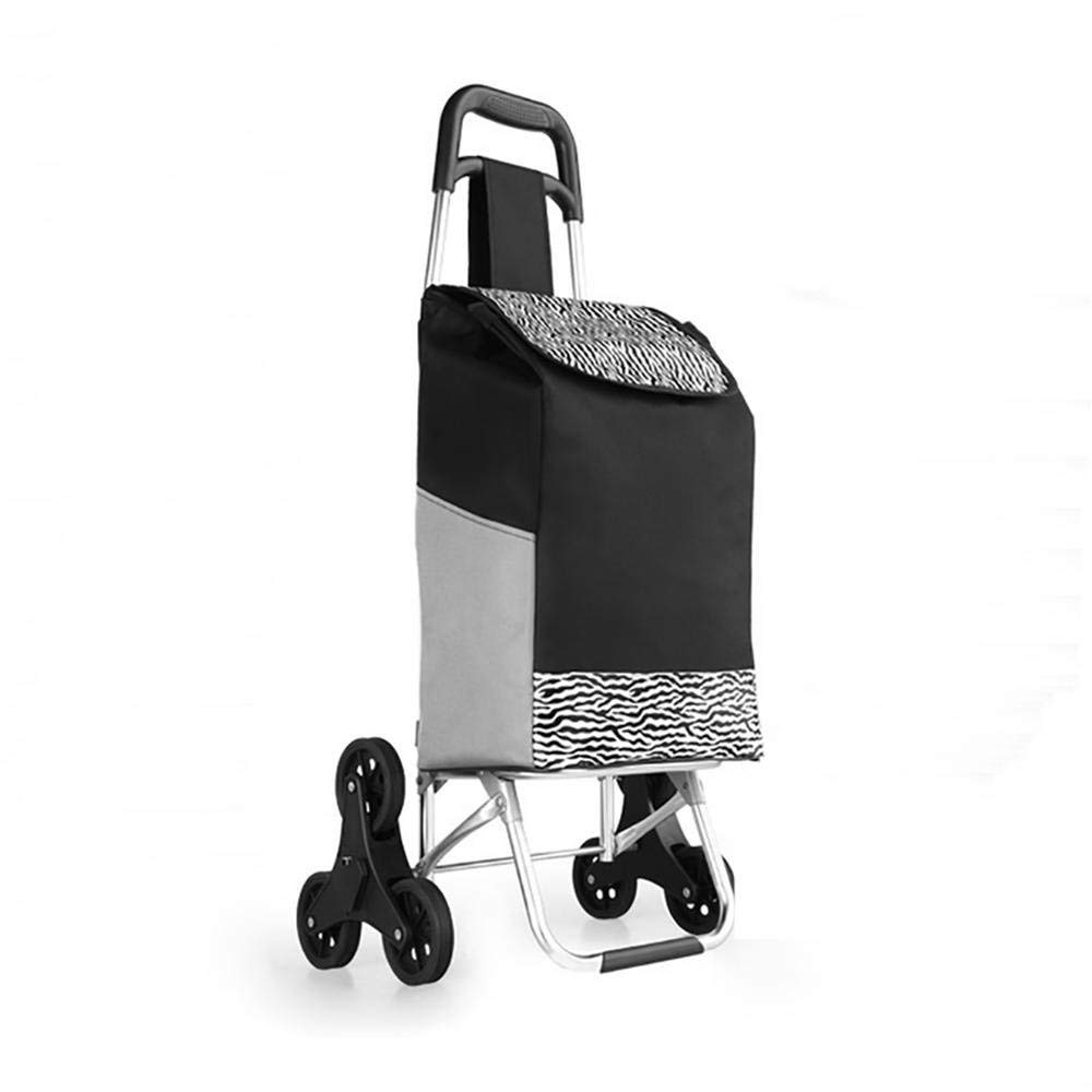 HCC& Foldable Shopping Cart with 6 Wheel Multifunction Stainless Steel Luggage Cart for Supermarket Shopping , Black