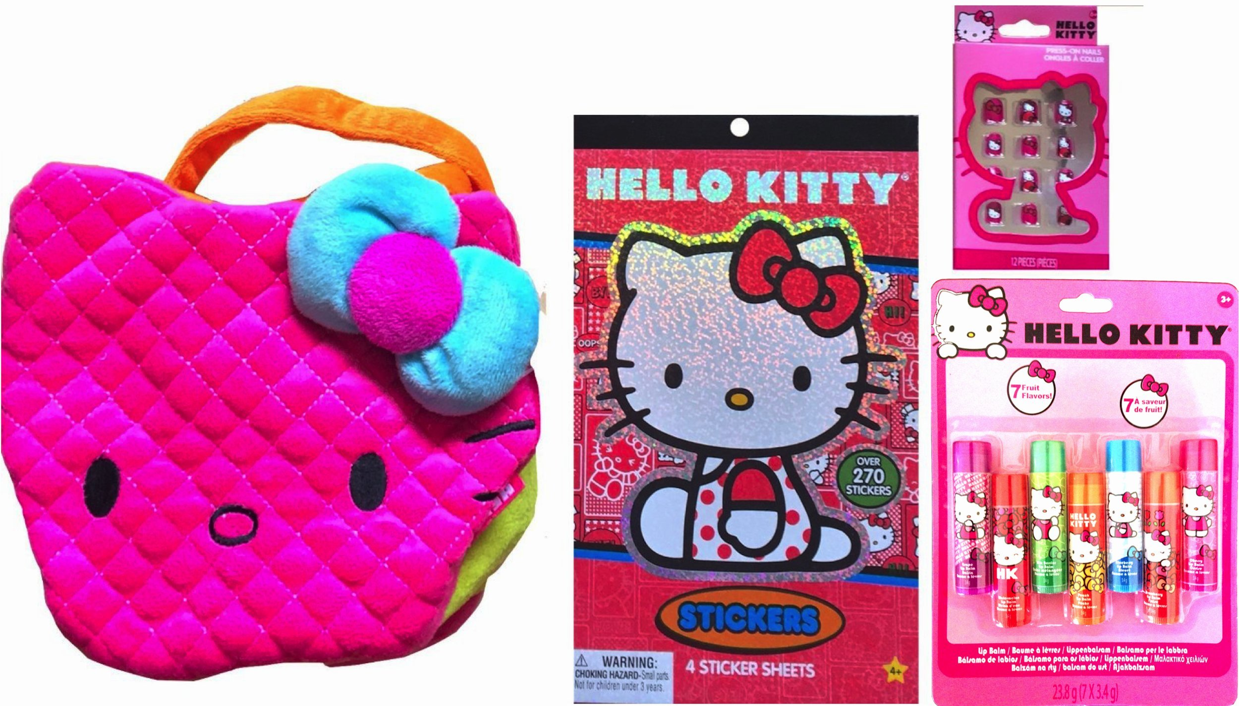Hello Kitty Care Package Gift Set Pretend Play Cosmetic Kit Includes Hello Kitty Purse, Hello Kitty Sticker Book, Hello Kitty Press on Nails, Hello Kitty 6 Pack Flavored Lip Balms
