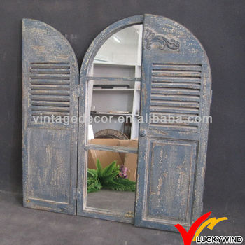 Antique Wooden Frame Shutter With Mirror Buy Wooden