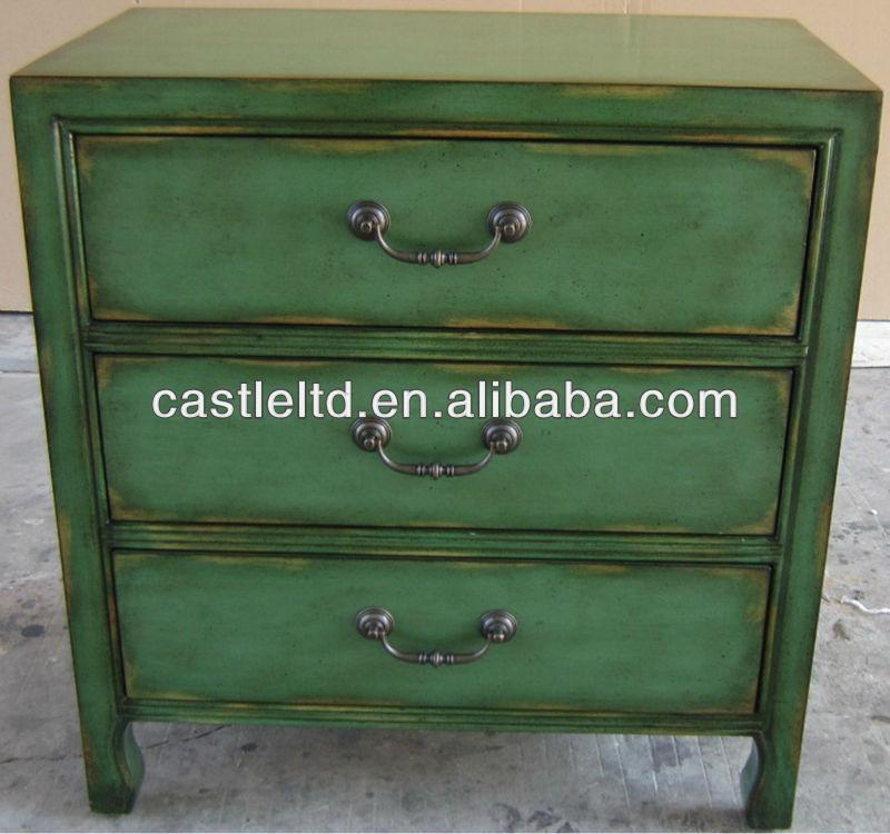 Stocklot muebles pintados a mano apenada tres cajones Muebles antiguos pintados a mano