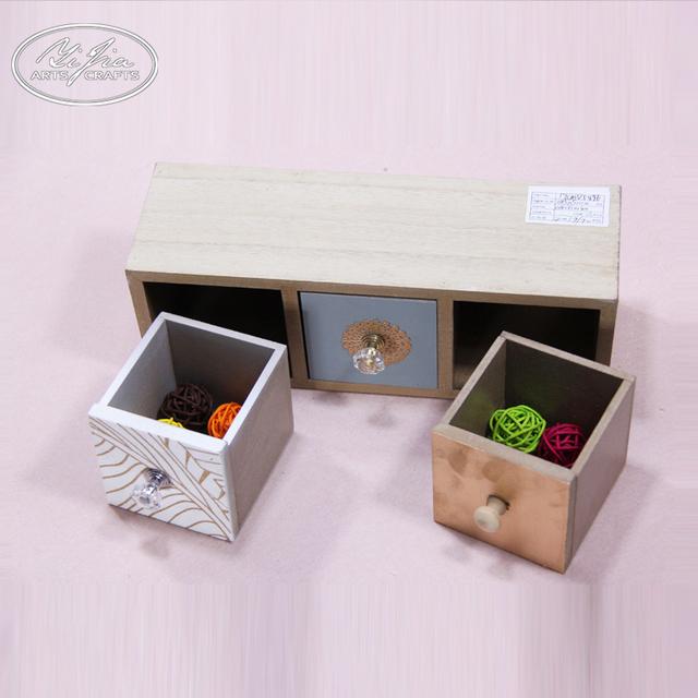 Cute Decorative Home Organizer 3 Drawers Wooden Storage Box