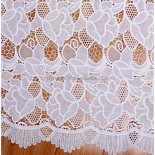 White chemical lace fabric/100 polyester embroidery lace applique crochet fabric for garment